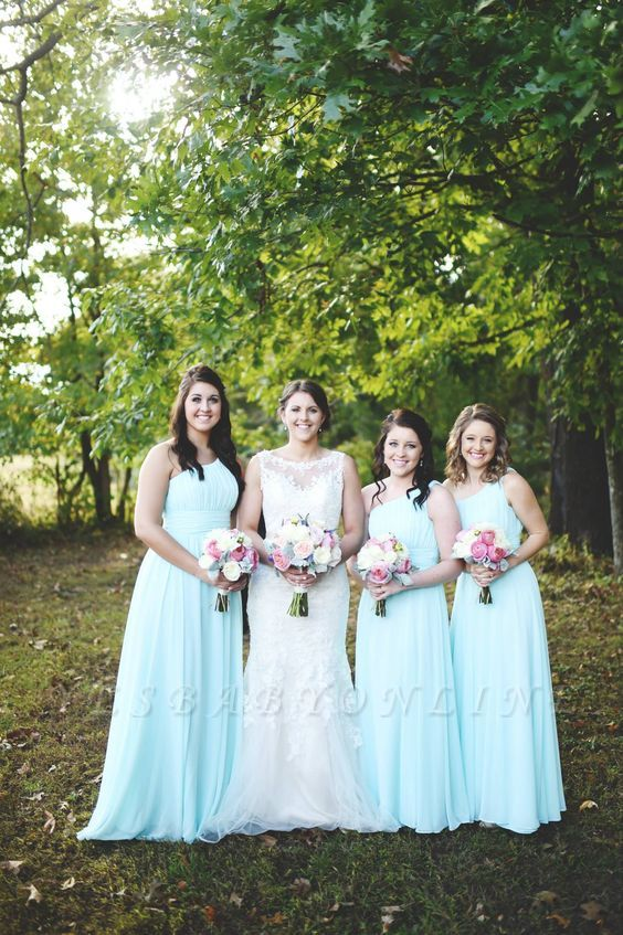 Chiffon One-Shoulder Green Long Mint Bridesmaid Dresses