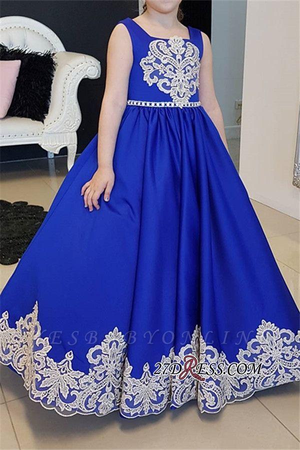 Blue Floor-length Royal A-Line Straps Flower Appliques Girl dresses