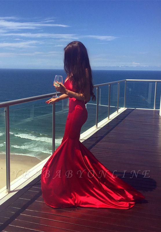 Simple Sleeveless Mermaid V-neck Red Long Prom Dress