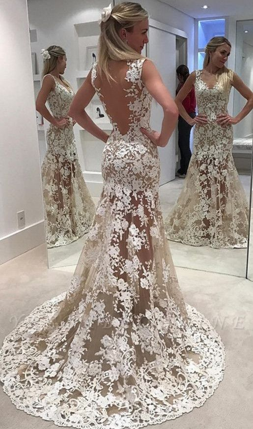 Ivory  Sheer Backless Lace Mermaid Designer Wedding Dress