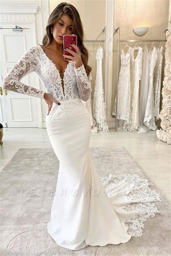 Graceful Deep V Neck Long Sleeve Applique Fitted Mermaid Wedding Dresses