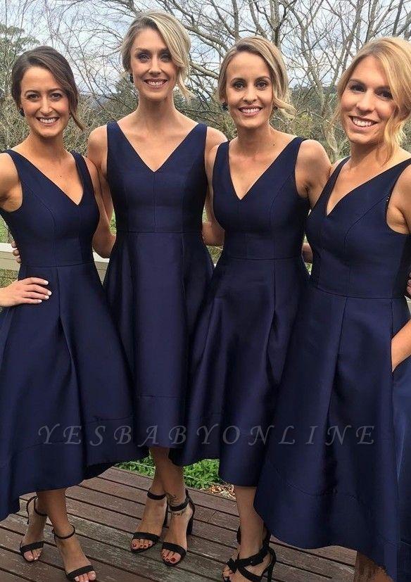 V-neck Dark-Navy Sleeveless A-line High-low Birdesmaid Dresses