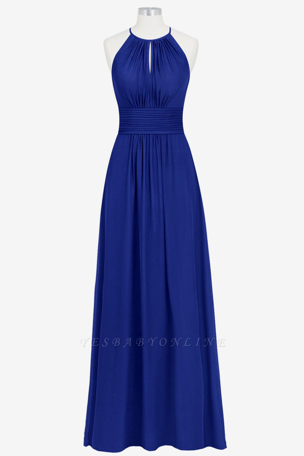 A Line Chiffon Round Neck Floor Length Bridesmaid Dresses With Ruffles