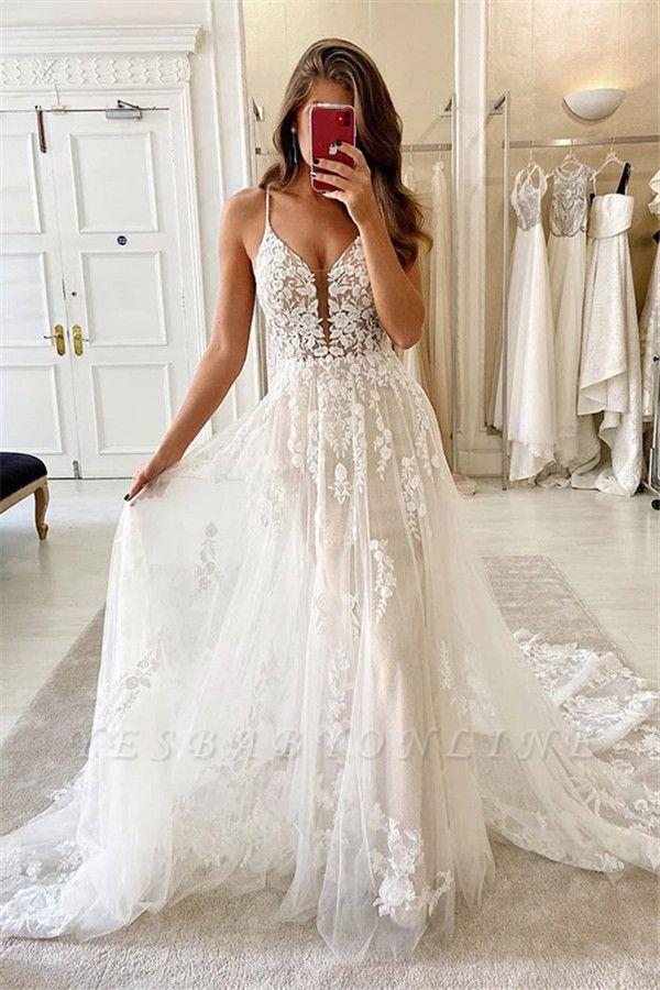Spaghetti Straps Deep V-neck A-line Lace Wedding Dresses