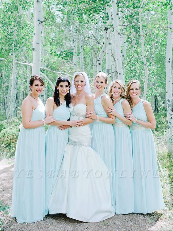 Fashion Party Mint Green Chiffon Wedding One-Shoulder Long Bridesmaid Dresses
