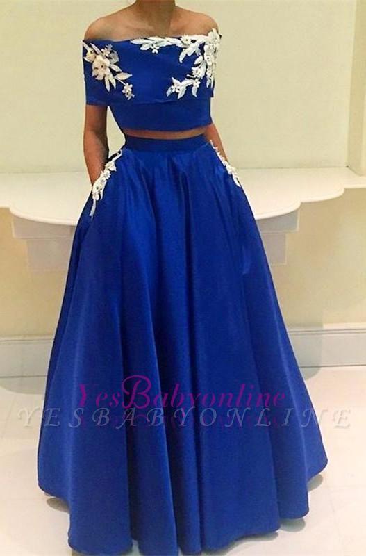 Royal-Blue Two-Pieces  Appliques Off-the-Shoulder Prom Dress