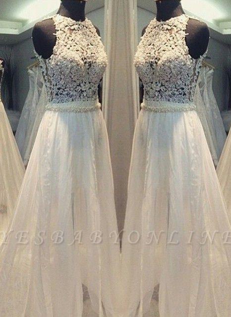 Hollow Sleevess Simple Scoop Sweep Train A-line Wedding Dress