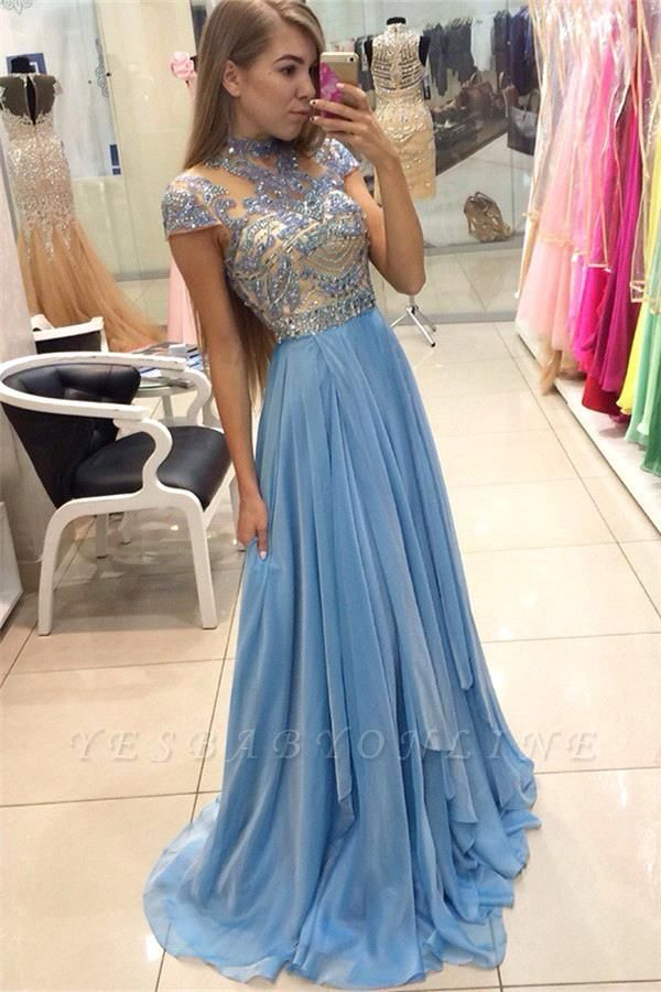 A-line Long  Romantic High-Neck Crystals Sky-Blue Prom Dresses