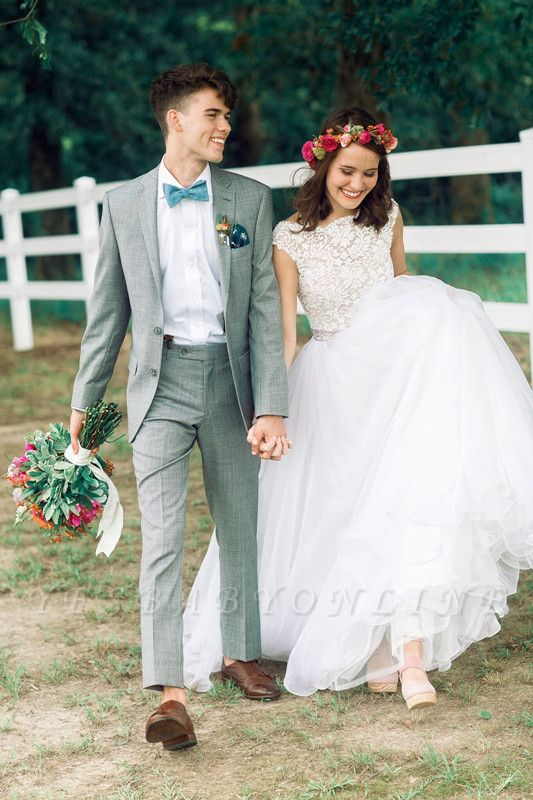 Lace A-line Capped Sleeves Exquisite Beading Ruffles Trim Wedding Dresses