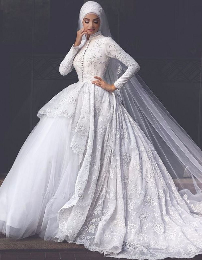 Glamorous High Neck Wedding Dresses | Lace Long Sleeves Muslim Bridal Gowns