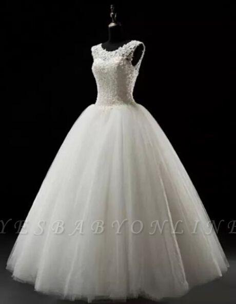 Simples Lace Wedding Dresses | Lace-up Floor Length Bridal Dresses