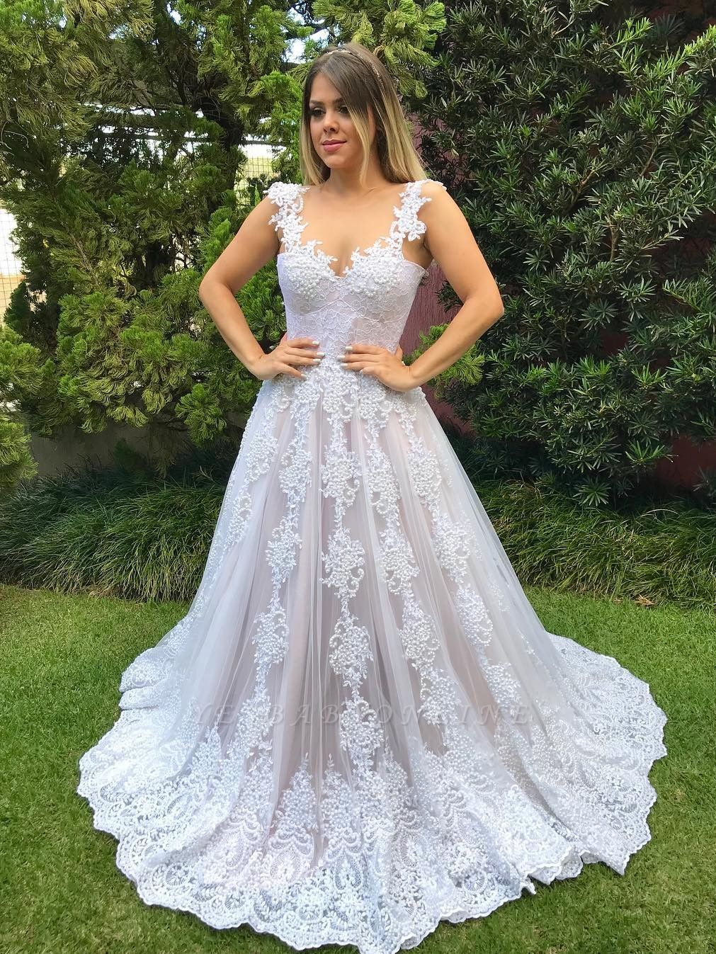 Glamorous Straps Beaded Wedding Dresses   Button Tulle A-Line Bridal Gowns
