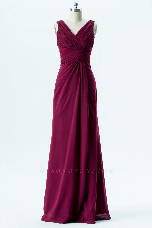 A Line chiffon V-Neck Sleeveless FLoor Length Bridesmaid Dresses