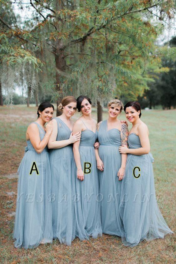 Blue Sleeveless Long Fashion Tulle Bridesmaid Dresses