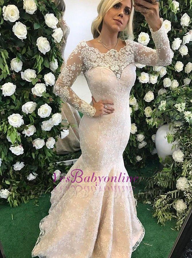 Long-Sleeve Floor-Length Appliques Stunning Mermaid Lace Evening Dress