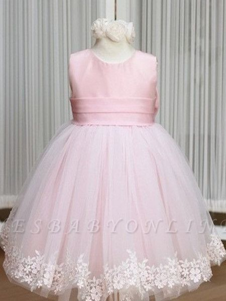 Jewel Bowknot Sash Pink Flower Girl Dresses   Lace Appliques Lovely Tulle A Line Pageant Dress