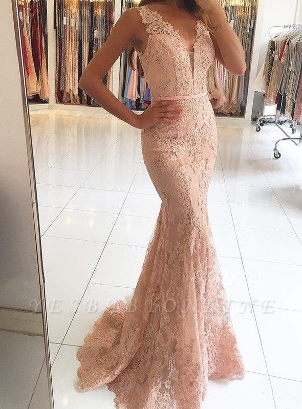 Sexy Mermaid Pink Lace Long Evening Dresses