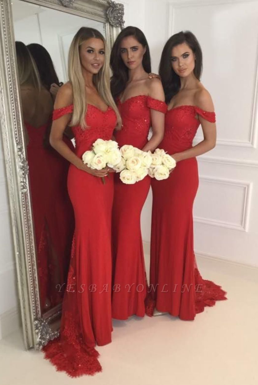Red off-the-Shoulder Bridesmaid Dresses Sexy Mermaid Wedding Guest Dresses