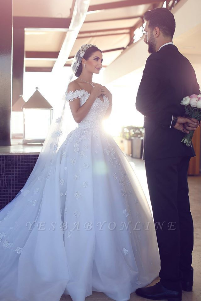 Romantic Off-the-shoulder 3D-Floral Ball Gown Wedding Dress with Chapel Train