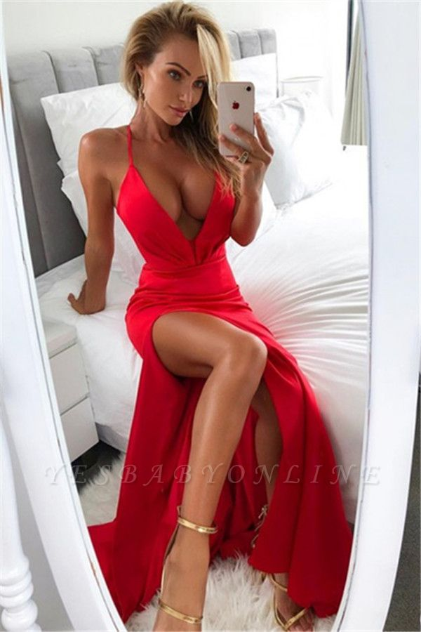 Simple V-Neck Side-Slit Sheath Sexy Red Prom Dresses