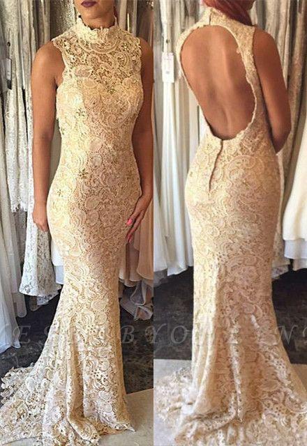 Elegant Sleeveless High-Neck Open-Back Mermaid Lace Prom Dress