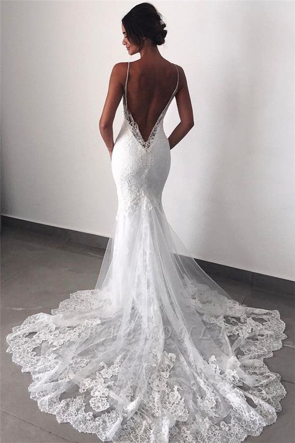 Backless Lace Sexy Mermaid Wedding Dresses Spaghetti Straps