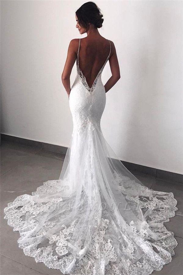 Backless Lace Sexy Mermaid Wedding Dresses  | Spaghetti Straps Cheap Bridal Dress