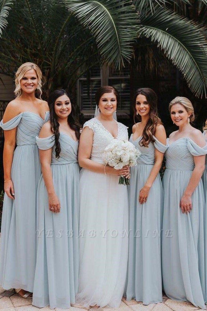 Elegent Off The Shoulder Long Bridesmaid Dress   Chiffon Full Length Wedding Party Dresses