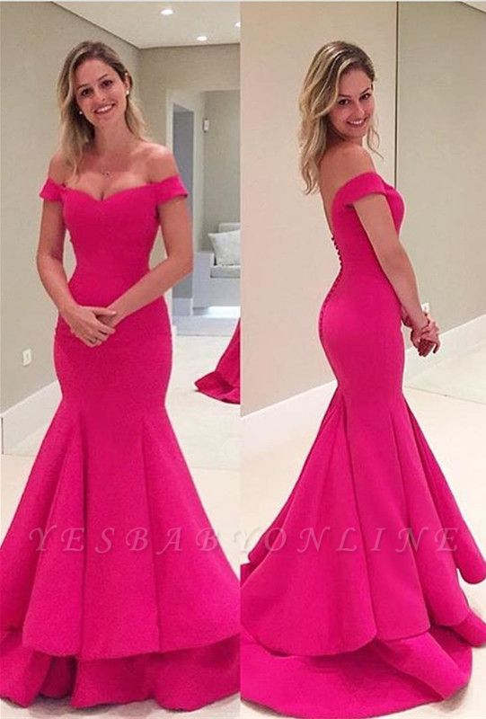 Short Mermaid Sleeves Fuchsia Off-The-Shoulder Prom Dress