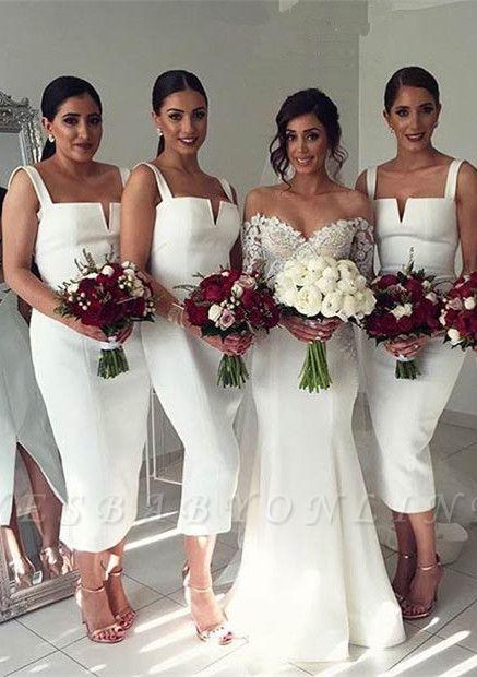 Modest Sleeveless Bodycon Straps Tea-Length White Bridesmaid Dress