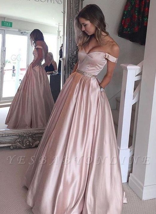 2019 Pearl Pink Prom Dresses Off-the-Shoulder Beading with Pockets Puffy Formal Gowns