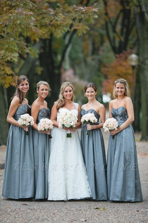 Sleeveless Sweetheart Blue Chic Long Bridesmaid Dresses