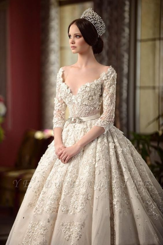 A-Line Lace V-Neck Wedding Dress | 3/4 Sleeves Appliques Cathedral Train Bridal Dress