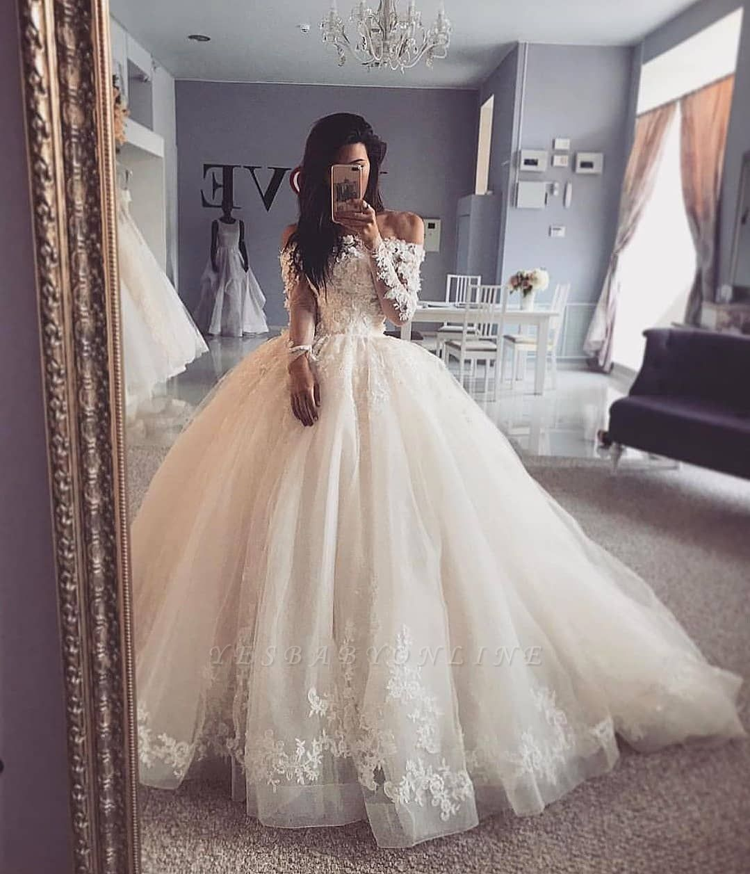 lace ball gown wedding dress with sleeves off 20   medpharmres.com