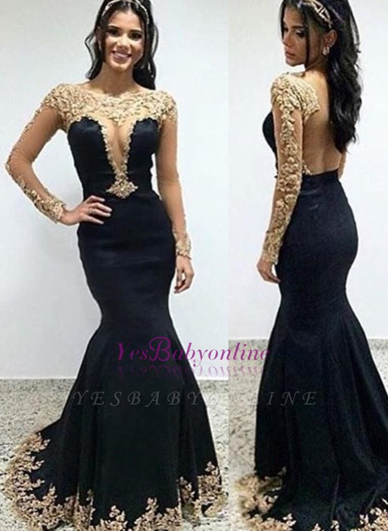 Trumpet-Mermaid Floor-length Scoop Long-sleeves Appliques Evening Dress