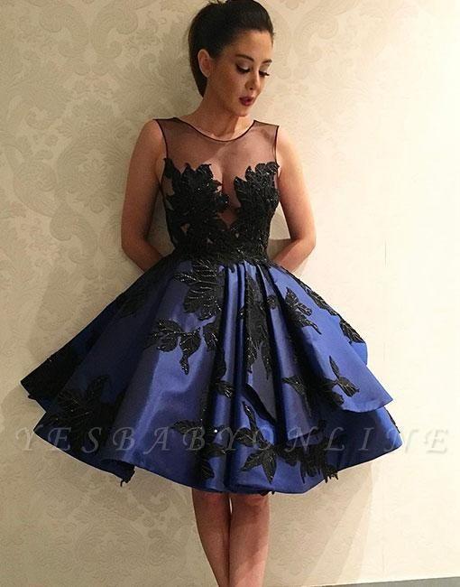 Lace A-line Knee-length Applique Dark-blue Evening Dress