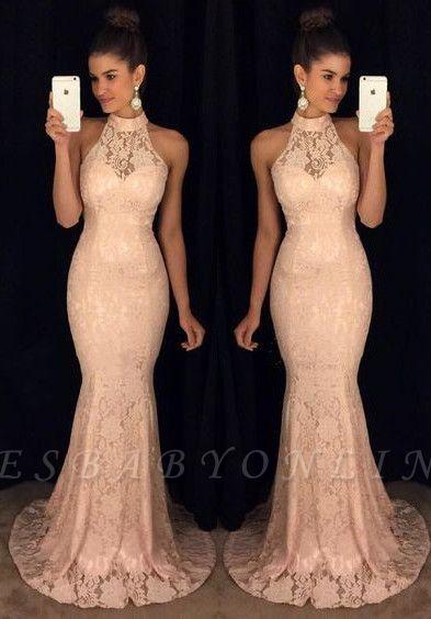 Lace Elegant Mermaid High-Neck Sleeveless Sweep-Train Prom Dress