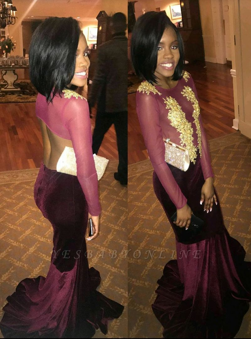 Mermaid Elegant Gold-Applique Long-Sleeves Scoop Velvet Prom Dresses