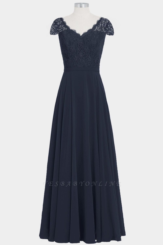 A Line Chiffon Lace Cap Sleeves Floor Length Bridesmaid Dresses