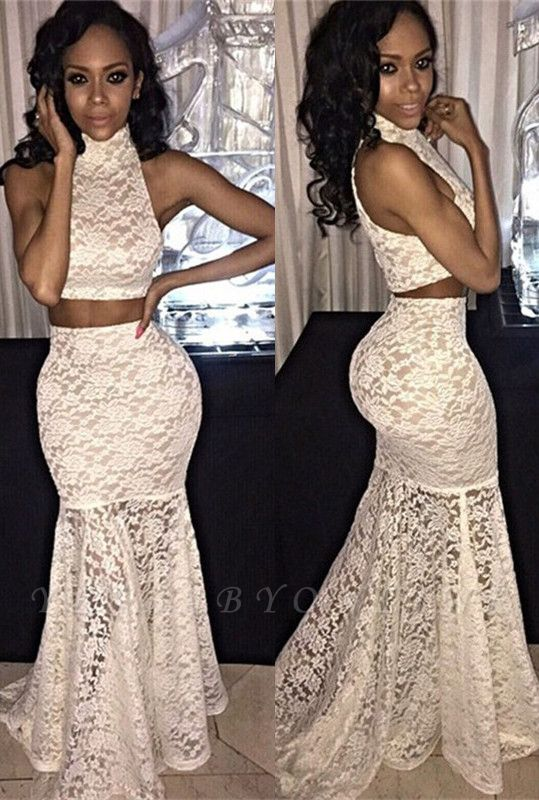 Two-Piece Sweep-Train Mermaid Lace Sexy High-Neck Sleeveless Prom Dress