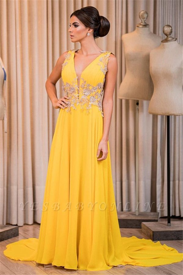 Elegant Sleeveless V-Neck Appliques Prom Dress