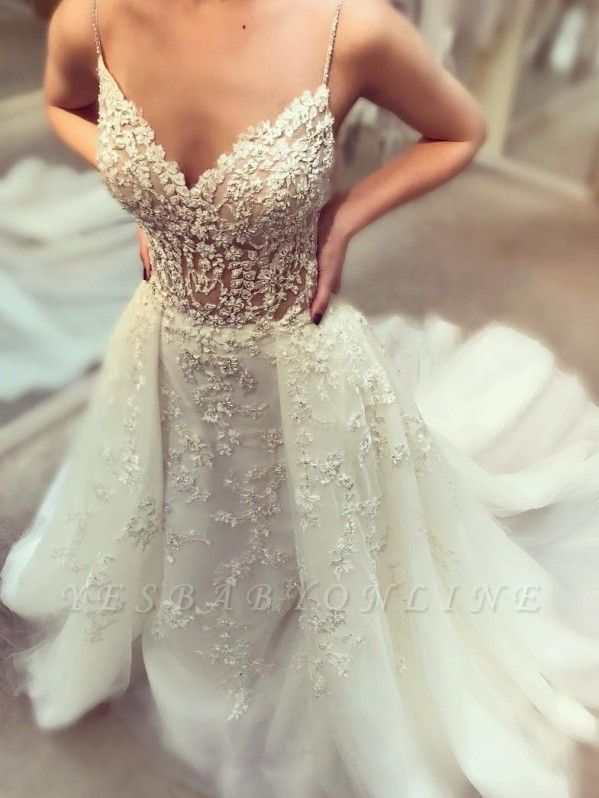 Glamorous Beading Wedding Dresses with Overskirt | Spaghettis Straps Puffy Bridal Gowns