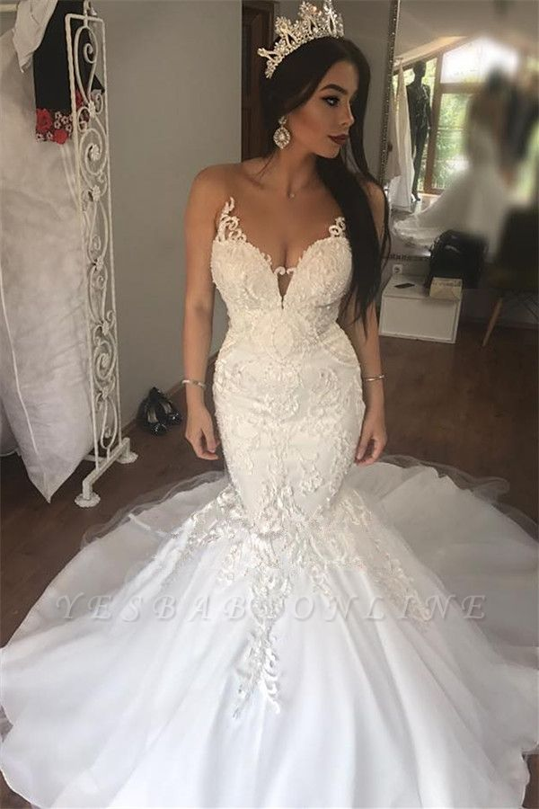 Glamorous Mermaid Buttons Lace Sleeveless Long Wedding Dress