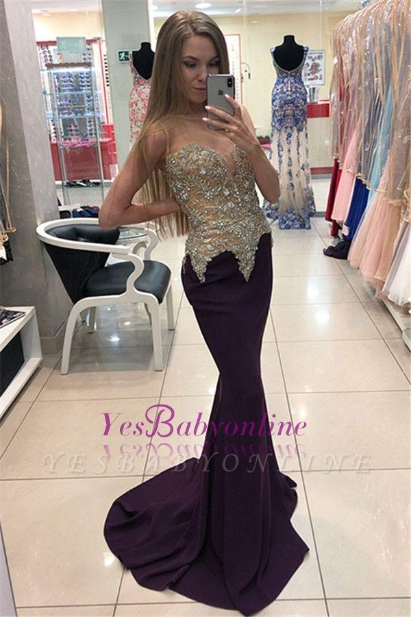 Sleeveless Sexy Mermaid Beadings Appliques Evening Dresses