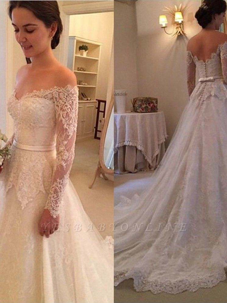 Glamorous Court-Train Lace Long Sleevess Off-The-Shoulder Wedding Dress