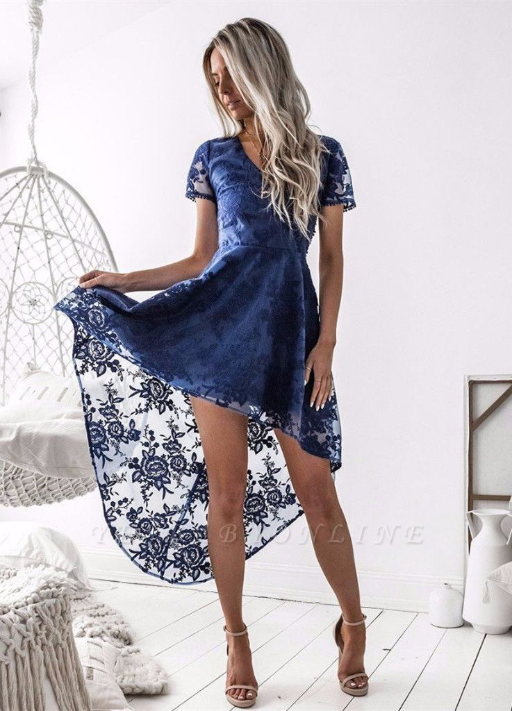 Delicate Lace Short Sleeve Homecoming Dress | Hi-Lo A-line Short Party Gown