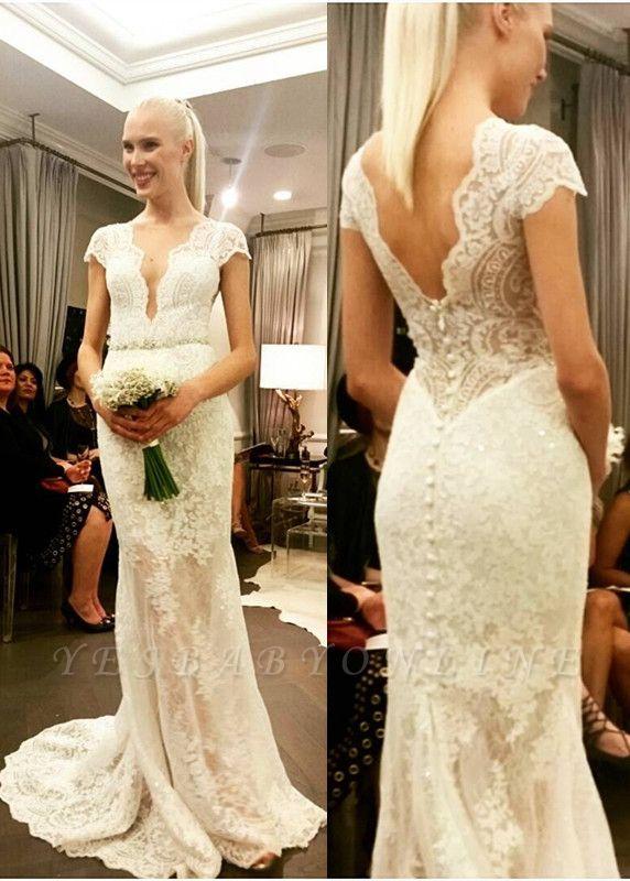 Glamorous Designer Floor-Length Button Lace Cap-Sleeve Wedding Dress