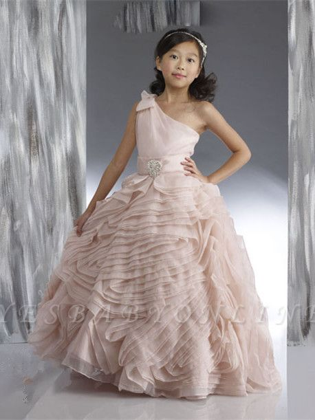 Organza One Shoulder Bowknot Beading Flower Girl Dresses | Lovely Tiered Ball Gown Pink Pageant Dress