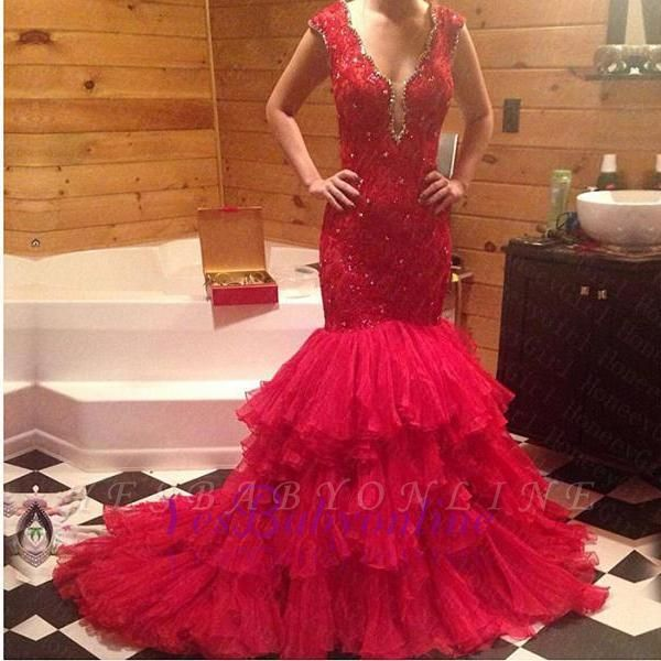 Tiered Beadings Red Mermaid Sleeveless V-Neck Prom Dress