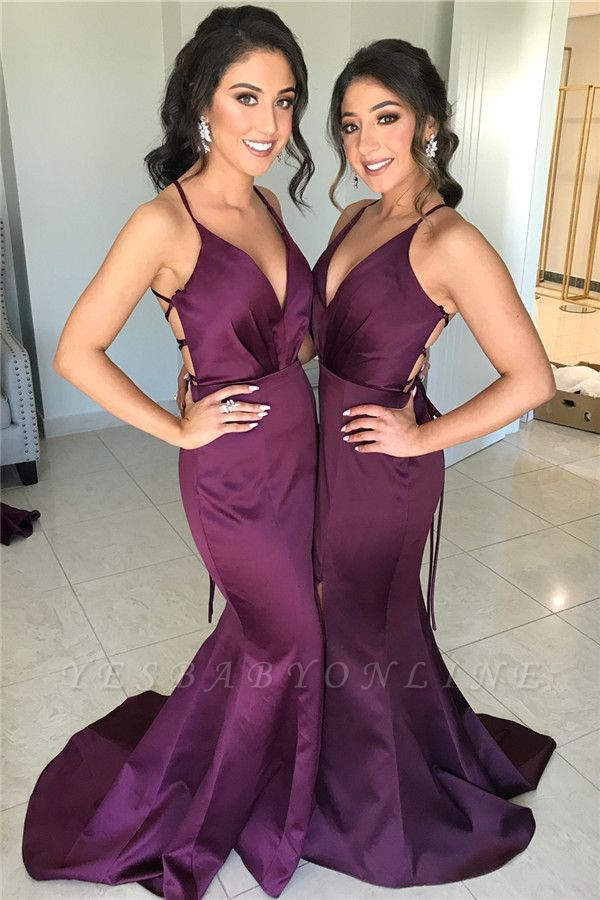 Spaghetti Straps Deep V-neck Sexy Bridesmaid Dress | Cheap Open Back Maid of Honor Dress